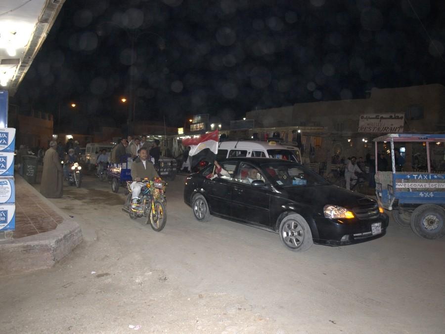 Oslavy fotbalového vítězství Egypta na Ghanou.